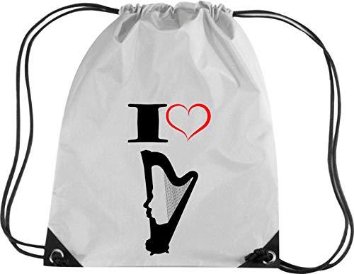 Camiseta stown Premium gymsac Música I Love Stand Arpa Harp, plata