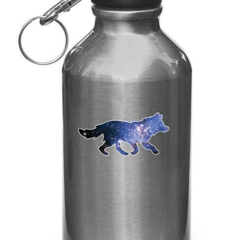 Tra56owe WB, Cosmic Wolf, Galaxy Spirit Animal, vinilo calcomanía para botellas de agua, tazas, frascos de vacío, (8,9 cm de ancho x 4,4 cm de alto