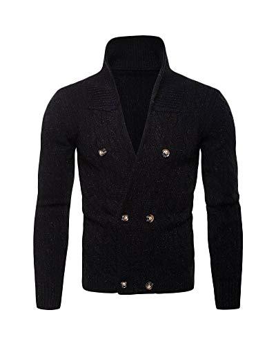 Yonglan Uomo di Maglia Cardigan Doppiopetto Addensare Maglione Esterni Cappotto Nero XL