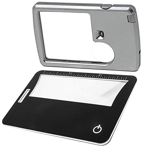 2 Lighted Magnifiers – 6X 3X Pocket Magnifier with Light, 3X Lighted Fresnel Lens Credit Card Size Magnifier, Use as…