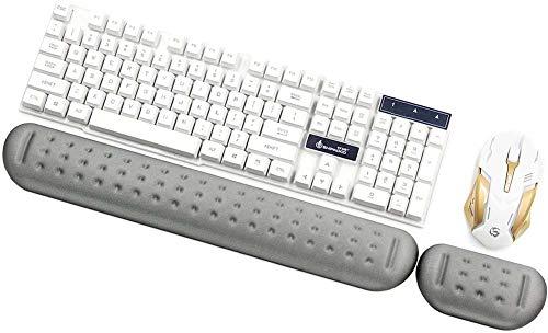 Mauspad für Tastatur, rutschfest, ergonomisch, bequem, Memory-Schaumstoff, Grau