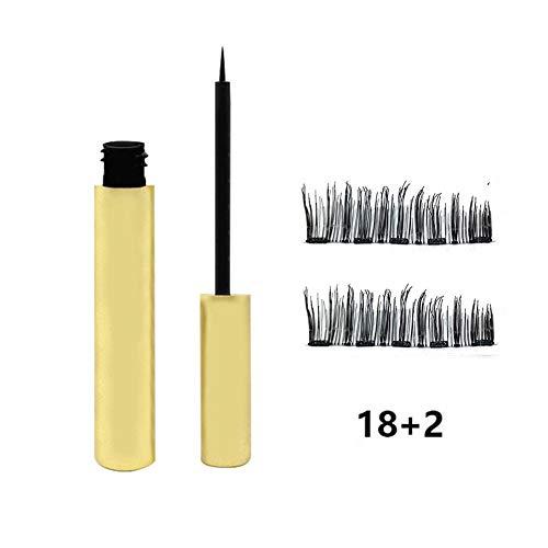 Brownrolly Impermeable Delineador de Ojos magnético Natural Líquido con Kit de Maquillaje de la Onu de Cinco pestañas Falsas de 1 par magnético