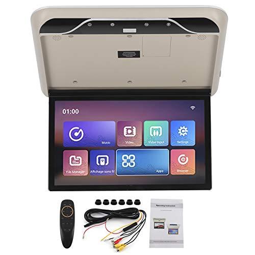 Yctze - Monitor de montaje en techo de coche, 19 pulgadas, monitor abatible para techo de coche, TV HDMI, compatible con control remoto para Android 9.0, monitor de montaje en techo de coche (Beige)