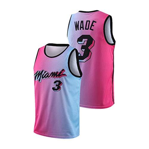 Traje de Baloncesto de Wadé Miamî Ballball 3# Running Men's y Mujeres sin Mangas para Mujer, Camisetas de Manga Corta, Ropa de Entrenamiento Deportivo Transpirable PinkA-L