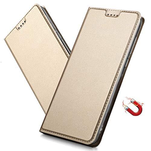 MRSTER Xiaomi Redmi 6A Hülle, Xiaomi Redmi 6A Tasche Leder Schutzhülle, Handyhülle mit Magnetverschluss, Standfunktion & Kartenfach für Xiaomi Redmi 6A. DT Gold