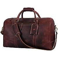 Aaron Leather Weekend Travel Duffle Bag (Walnut)