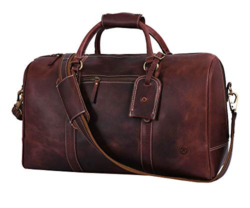 Leather Travel Duffle Bag | Gym Sports Bag Airplane Luggage Carry-On Bag By Aaron Leather (Walnut)