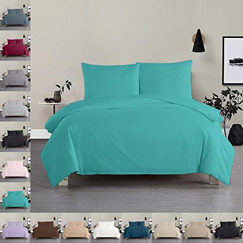 Bettwäsche Bettgarnitur Bettbezug 100% Baumwolle 135x200 155x220 200x200, Farbe Bettwäsche:Türkis, Größe Bettwäsche:155 x 220 cm
