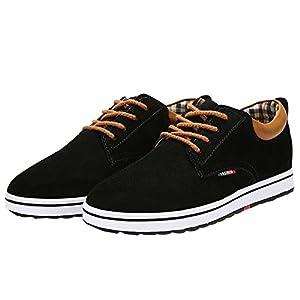 [MERLIN] 身長6cmUP カジュアルシークレットシューズ メンズスニーカー ウォーキング 本革 紐靴 (25, ブラック)