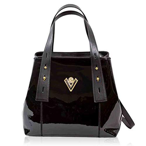 Valentino Orlandi Women's Large Italian Designer Large Handbag Crossbody Bag Tote Purse Genuine Onyx Black Patent Leather Top Handle Satchel in Convertible Design