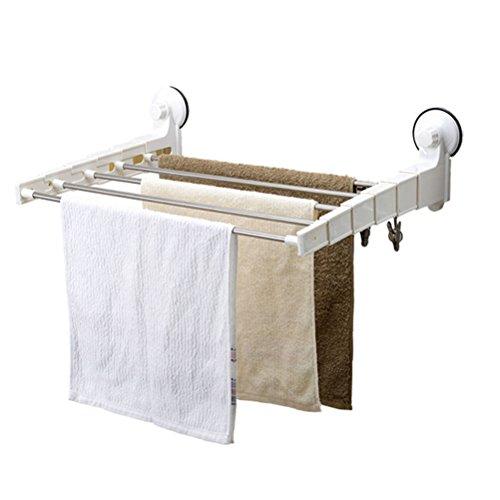 WLH- Sterke zuignap Badkamer Handdoekrek intrekbare handdoekhouder RVS Handdoekrek