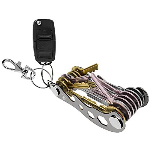welsberg Llavero organizador de llaves, llavero compacto, llavero plegable inteligente y ligero con abrebotellas soporte para teléfono (hasta 12 llaves, negro)