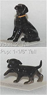 Hagen-Renaker Hand-Crafted Ceramic Black Lab with Collar and Black Lab Pup, 2 Pieces
