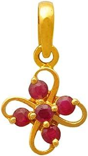 Lagu Bandhu 22k (916) Yellow Gold and Ruby Pendant for Women