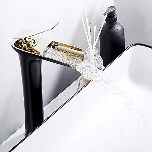 Rubinetto a cascata in acciaio inox, miscelatore per lavabo, bagno, rubinetteria elegante e design retrò, rubinetto a leva monoforo per vasca da bagno acqua calda fredda durevole (09)