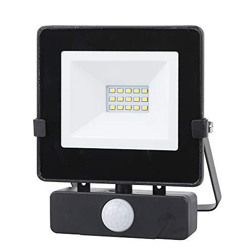 Chestele Faro LED Esterno,Faretto con Sensore di Movimento 10w,Impermeabile IP54 800LM 4000K 80W Luci Alogene,Lampada da Giardino Garage - nero