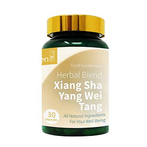 GinSen 2 x Stomach Pain Tablets (60 Caps) Xiang Sha Yang Wei Tang Helps Stomach Lining, Morning Sickness, Vomiting, Acid Reflux, Gas, Food Stagnation, Relief, Vegan, Vegetarian, Natural, Made in UK