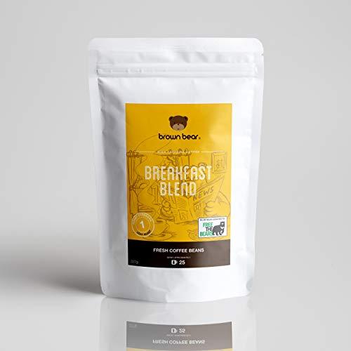 Brown Bear Breakfast Blend Kaffeebohnen, Helle Röstung, 227 g Kaffee Ganze Bohnen Light Roast Coffee Beans, 5 % der Verkäufe werden an die gemeinnützige Einrichtung Free the Bears