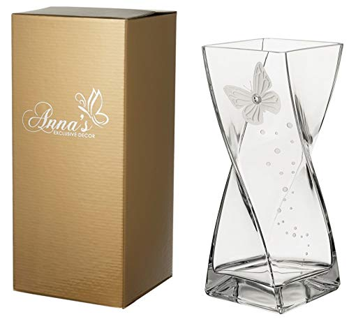 Vaso a Forma di Farfalla - Grande Elegante Vaso in Vetro Fatto a Mano - Decorato con Cristalli di Swarovski e Farfalla Sabbiata – Confezione Regalo Dorata – 30 cm