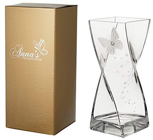 Vlinder vaas - grote elegante handgemaakte glazen vaas - versierd met kristal van premium merk en gezandstraalde vlinder - in een gouden geschenkdoos - DIAMOND COLLECTION - duidelijk 30 cm (11.8 in)