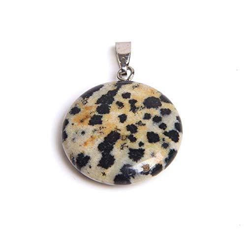HOULAI 1 colgante redondo de piedra natural de tono redondo, colgante de cristal de cuarzo hecho a mano, piedras colgantes de ágata drusa regalo