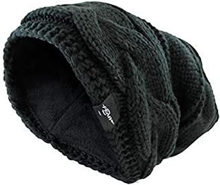 Fear0 NJ Extreme Warm Plush Wool Insulated White Black Knit Cable Pom Pom Skullies Cap Winter Beanie Hat for Women Girl