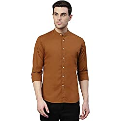 Dennis Lingo Mens Solid Chinese Collar Brown Casual Shirt