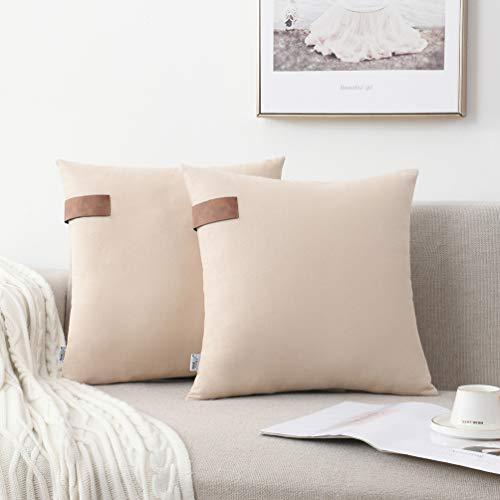 NordECO HOME Fundas de cojín decorativas de algodón 100%, fundas de almohada suaves Fundas de almohada para cama, sofá, silla, coche, decoración del hogar, sin relleno, 45 x 45 cm, beige, paquete de 2