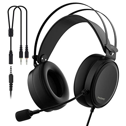 NUBWO Cuffie Headset Gaming Cuffia 3.5mm Canale Stereo Cancellazione di Rumore Auricolare da Gioco Over-Ear con Microfono Flessibile, Switch di Controllo Volume
