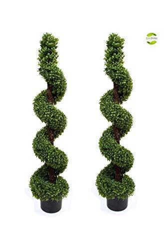 Künstliche Formschnitt-Bäume, Buchsbaum, spiralförmig, 120cm, 2Stück