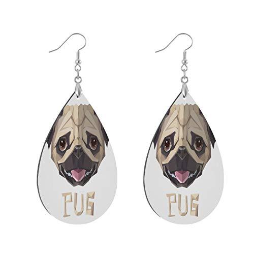 Earring for Women Waterdrop Pug Dog White Drop Dangle Earrings Boho for Teen Girls Teardrop