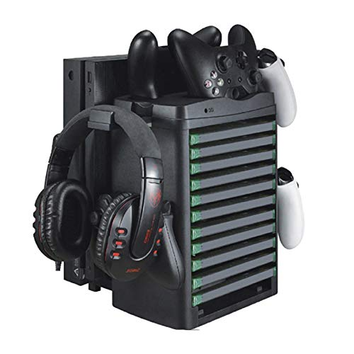 ZPL Multifonction Verticale Support De Disque Étagère Mise en Charge Base Tour De Stockage De Jeu avec Refroidissement Ventilateur Xbox One/Slim/X Convient pour