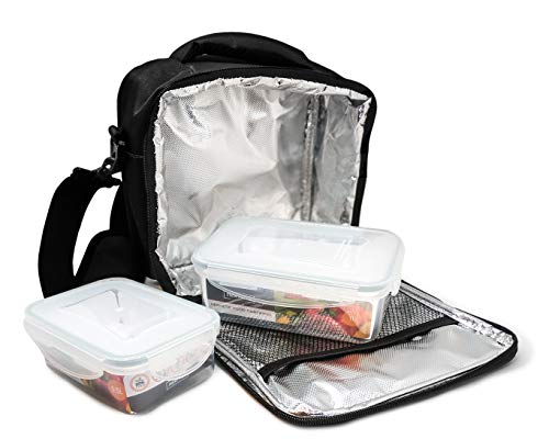 NERTHUS Lunch Bag Plástico Fiambrera bolsa termica porta alimentos, negra + 2 tupper, Tela Resistente, Con 2 Herméticos, Con 2 Tuppers