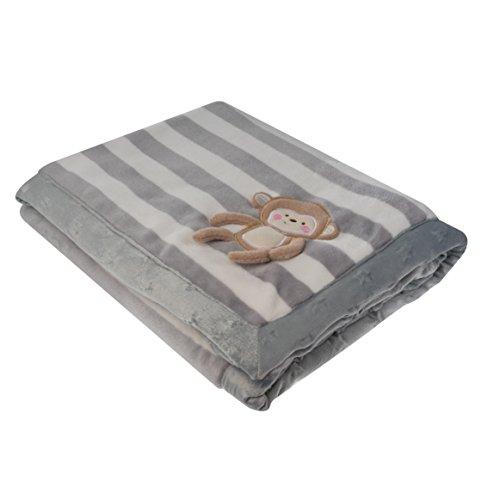 chicola® kuschelige Babydecke Krabbeldecke Kuscheldecke weiches Flanell Fleece Grau gestreift mit Äffchen als 3D Applikation