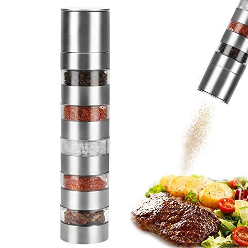 TWBEST Pfeffermühle,Gewürzmühle,5 in 1 Pfeffermühle, Gewürzmühle/Salzmühle/Chilimühle, aus rostfreiem Stahl, nachhaltige Materialien, hochwertige Qualität