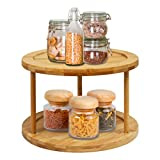 Lazy Susan Turntable Spice Rack - 10 Inch 2-Tier Bamboo Kitchen Countertop Cabinet Rotating Condiments Organizer