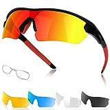 Occhiali da Sole Sportivi Polarizzati per Uomo e Donna con 5 Lenti Intercambiabili Protezione UV Occhiali da Sole per Corsa Ciclismo Pesca Golf Campeggio Sci Guida Motocicletta, Sport all'aria Aperta