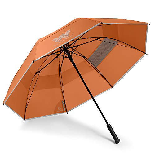 Weatherman Umbrella - Golf Umbrella - Windproof Sports Umbrella Resists Up to 55 MPH Winds - Available in 2 Sizes and 5 Colors (62 inch, Orange)