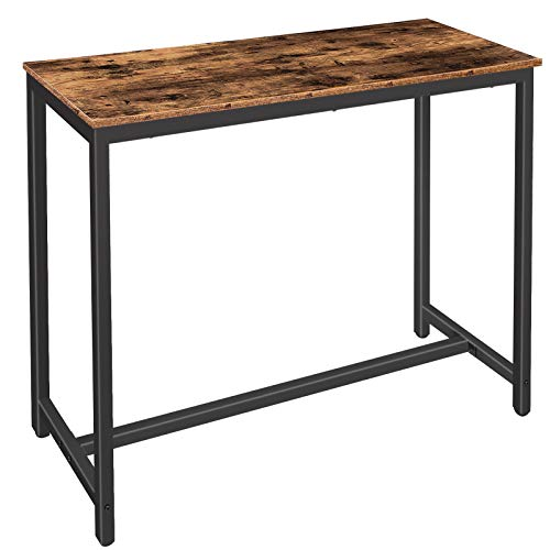HOOBRO Bar Table, Rectangular Kitchen Table, Breakfast Dining Table for Narrow Space, Living Room, Dining Room, Sturdy Metal Frame, Easy Assembly, Rustic Brown EBF50BT01