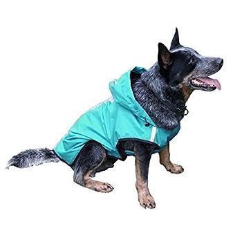 KoKoBin Combinaison réfléchissante pour chiens et chats avec capuche, pour pluie pour chiens de grande taille, réglable, ultra légère, respirante, imperméable (bleu, XL)