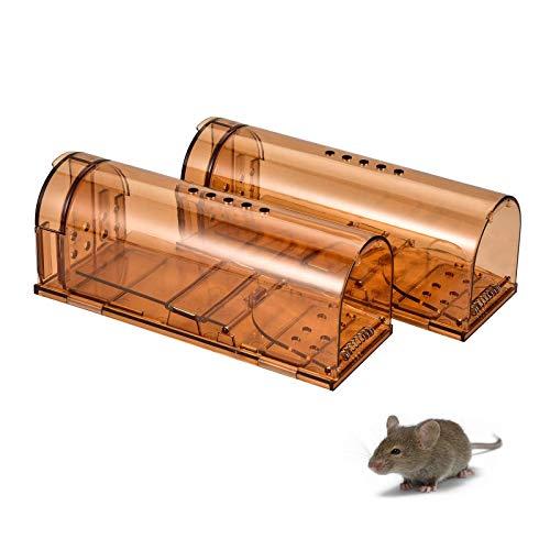 Wakana Mausefalle lebend 2er - Wiederverwendbare Lebendfalle - tierfreundlich und umweltbewusst Mäuse fangen im Haus oder Garten - transparent mit Belüftung