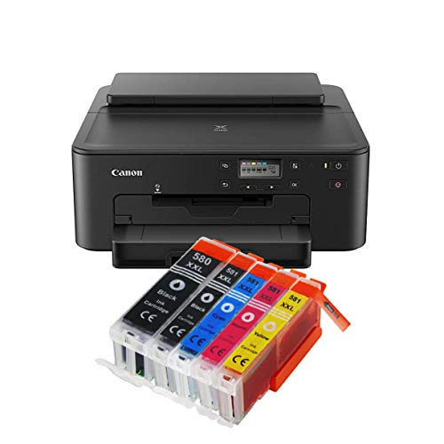 Canon Pixma TS705 TS-705 Farbtintenstrahl-Gerät (Drucker, USB, CD-Druck, WLAN, LAN, Apple AirPrint) Schwarz + 5er Set IC-Office XXL Tintenpatronen OHNE KOPIER- UND SCANFUNTKION