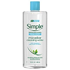 Simple Water Boost Micellar Cleansing Water gently yet effectively cleanses your skin, removing both dirt AND make-up. Instantly hydrates, leaving skin feeling refreshed and supple. Lightweight formulation; no sticky or greasy residue. Micellar clean...