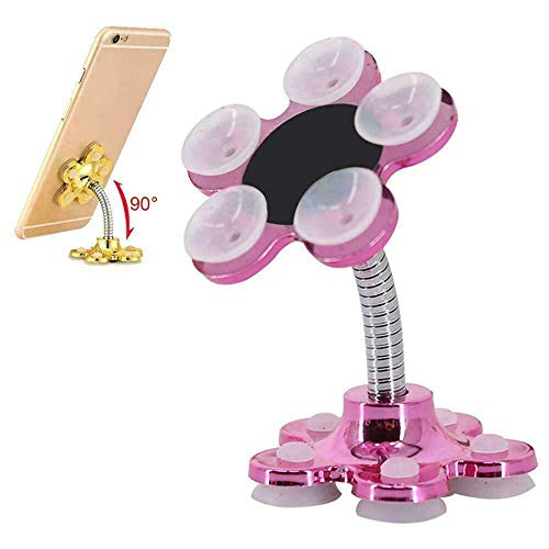 Jaxton Shopping Town 360° Rotatable Metal Flower Creative Navigation Double Sided Bracket Desktop Ultra-Stable Sucker Stand for Cell Phone for Car or Anywhere You Like