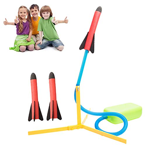INTVN Raketenwerfer Spielzeug Set, Air Rocket Kunststoff Stomp Rocket mit 3 Raketen Outdoor Science Pädagogisches Spielzeug Multiplayer-Spiel Spielzeug
