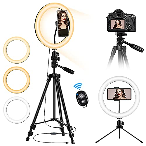 10'' LED Ring Light with Stand and Phone Holder, Desk Tripod Remote Shutter Circle Light for iPhone Camera Video Recording, TikTok YouTube Streaming Selfie Photo