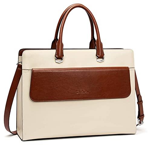 BOSTANTEN Briefcase for Women 15.6 Inch Laptop Shoulder Bag Leather Business Messenger Bags Beige