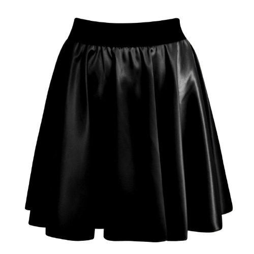 Fast Fashion Damen Röcke Wetlook Kunstleder Bodycon / Ausgestellte (ML = EUR (40-42), Skater-Rock)