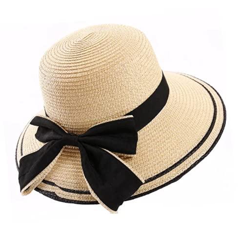 TORQUE Sombreros de paja de ala ancha para mujer, UPF50+ UV Packable Beach Summer Bucket Cap Beige