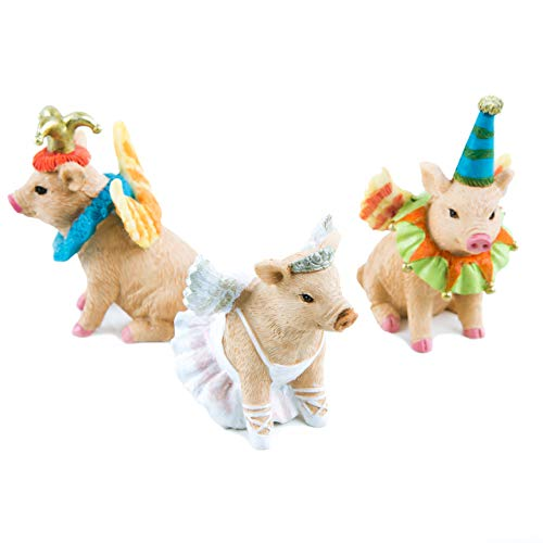 Logboek-uitgeverij 3 grappige varken kleurrijke geluksvarkentjes 8 cm circus clown engel ballerina figuren - circusdecoratie kinderen Give Away kinderverjaardag